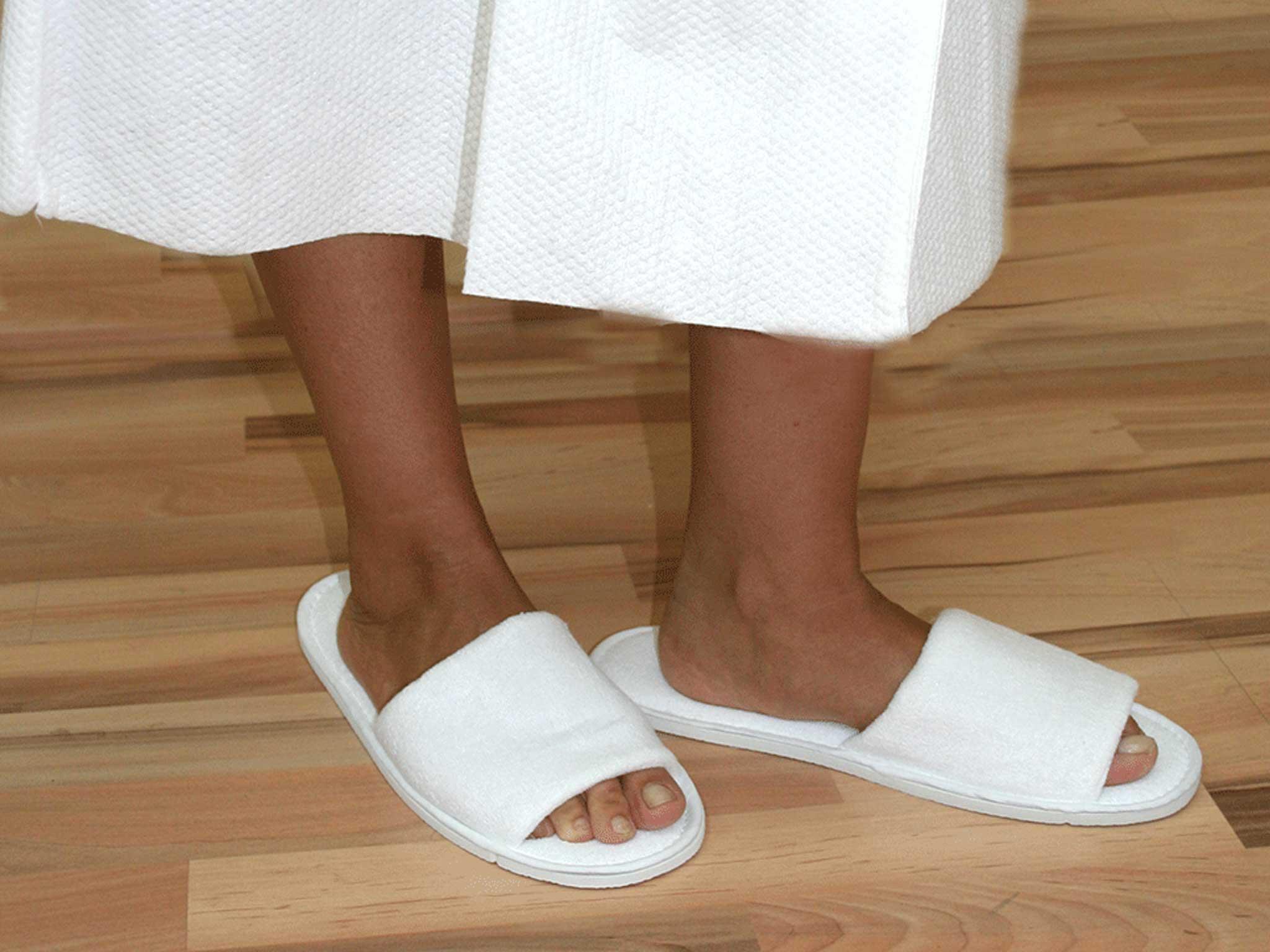 Zapatillas desechables de rizo abiertas para hoteles